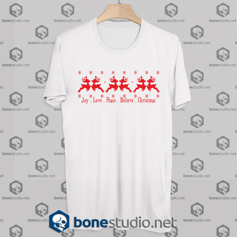 joy love peace believe christmas t shirt white