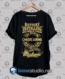 Mechanic Style Battery Installing T shirt