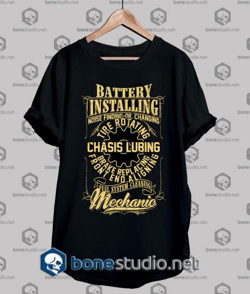 Mechanic Style Battery Installing T shirt