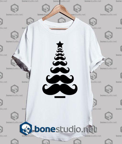 Moustache Christmas Tree Funny Tshirt