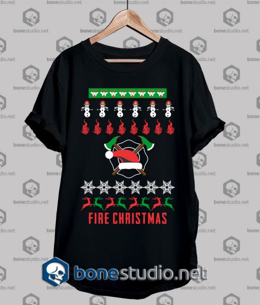 Ugly Style Fire Christmas T shirt