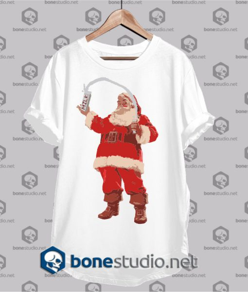 christmas milk santa claus t shirt