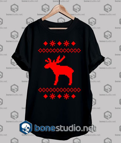 rudolph moose caribou-christmas-winter snowflake tshirt black