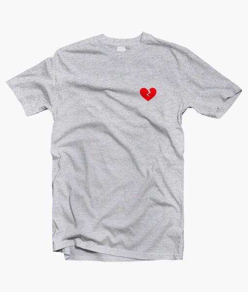 Broken Heart Red T Shirt sport grey