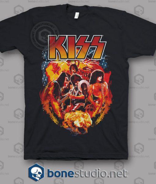 Kiss Fire Effect Band T Shirt