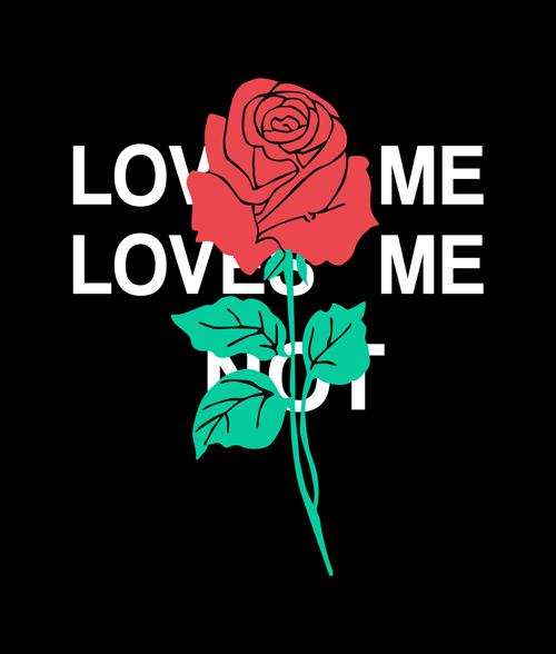 Love Me Love Me Not Hoodie Rose Flower