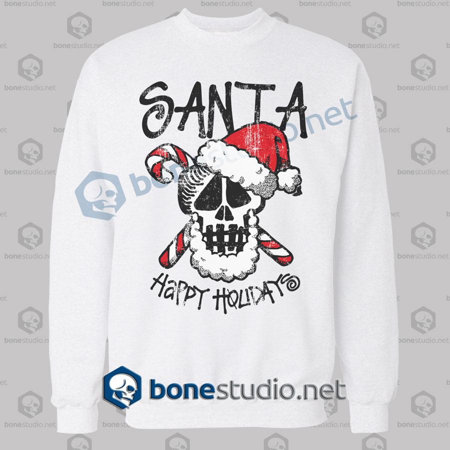Santa Stussy Happy Holidays Funny Christmas Sweatshirt