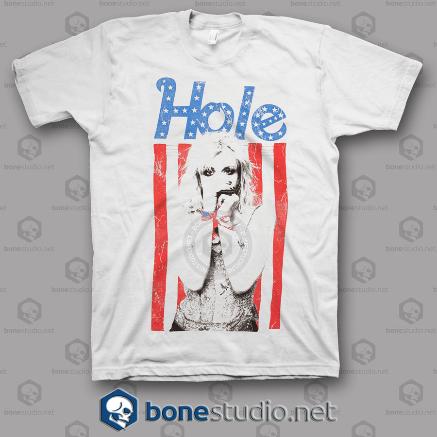 American Flag Hole Band T Shirt
