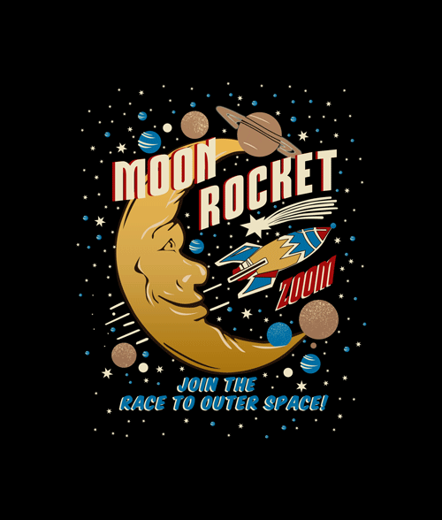 Moon Rocket Vintage T Shirt