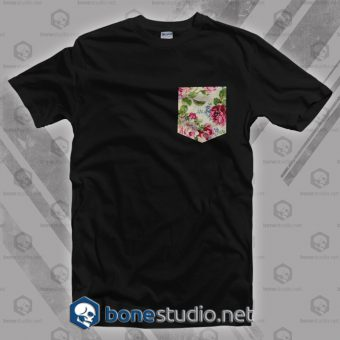 Black Floral Pocket T Shirt