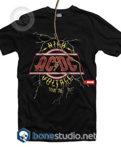 High Voltage Tour 76 ACDC Band T Shirt