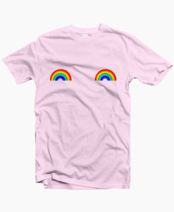 Rainbow T Shirt Boob Graphic Tees