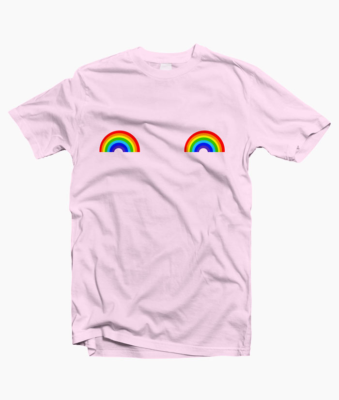 Rainbow T Shirt Boob Graphic Tees