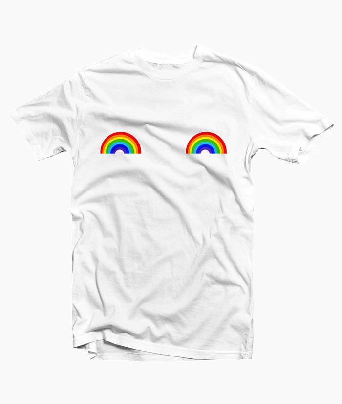 Rainbow T ShRainbow T Shirt Boob Graphic Teesirt Boob Graphic Tees