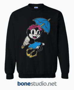 Drop Dead KITTY BRAINS Disney Minnie Mouse Black Sweatshirt