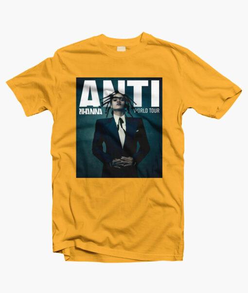 Anti Rihanna Tour T Shirt gold yellow