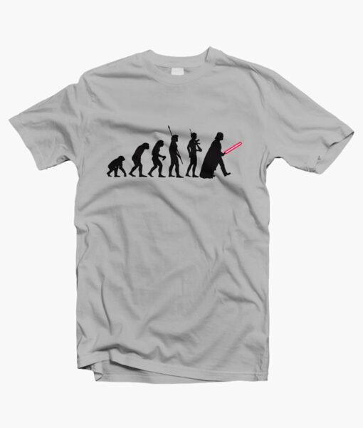 Human Evolution Star Wars T Shirt grey