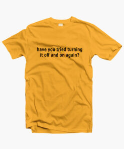 White IT Solution T Shirt gold yellow