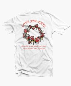 Love Hate Rose Flower T Shirt