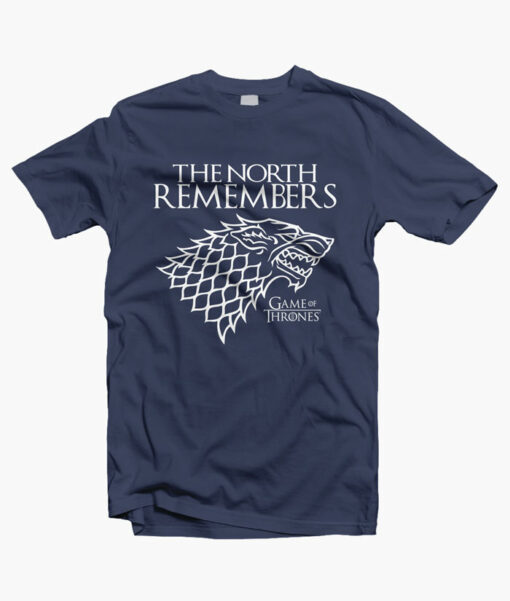 The North Remember Game Of Thrones T Shirt navy blue