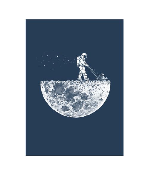 astronaut mowing the moon t shirt size s m l xl 2xl 3xl