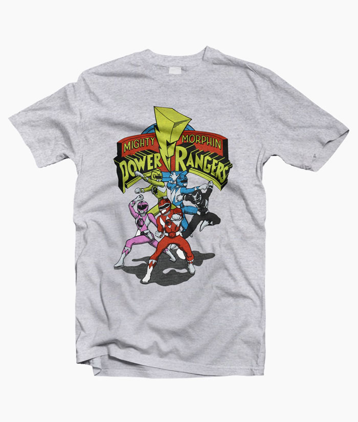 Mighty Morphin Power Rangers RETRO RANGERS Adult Long Sleeve T-Shirt S-3XL