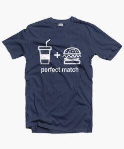 Perfect Match Drink Burger T Shirt navy blue