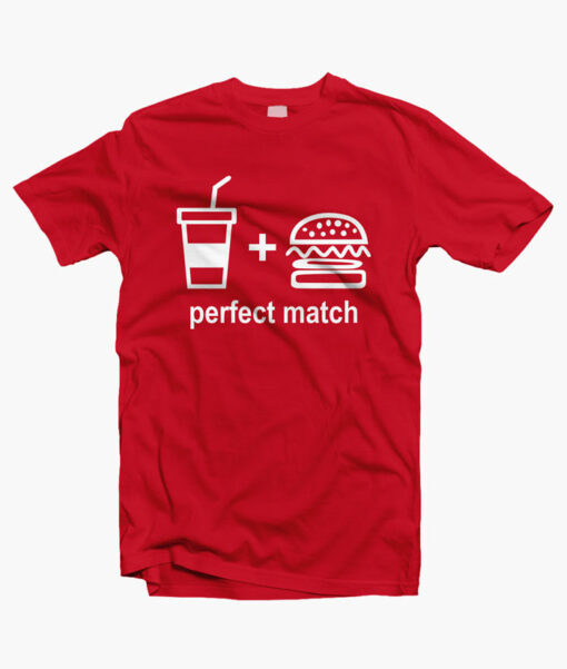 Perfect Match Drink Burger T Shirt red
