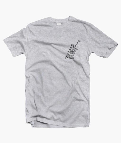 Phone Cell T Shirt Pocket sport grey