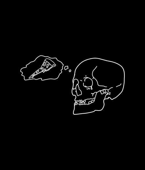 Pizza Skull T Shirt