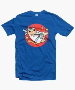 Karate Cat Funny T Shirt royal blue