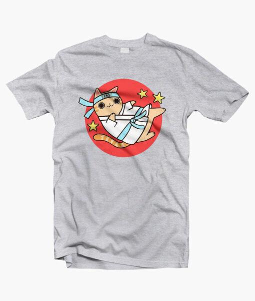Karate Cat Funny T Shirt sport grey