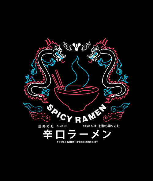 371cf60460f Destiny 2 Spicy Ramen Shop T Shirt For Men Women Size XS
