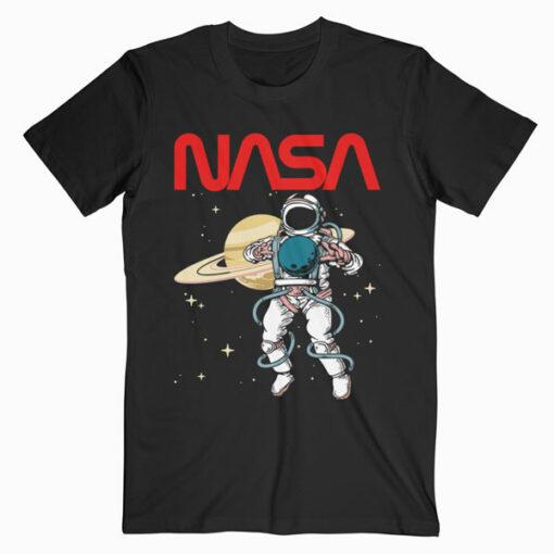 NASA Astronaut Moon Reflection Vintage Retro Graphic T-Shirt
