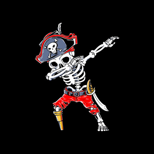 Dabbing Skeleton Pirate Halloween Kids Jolly Roger T Shirt