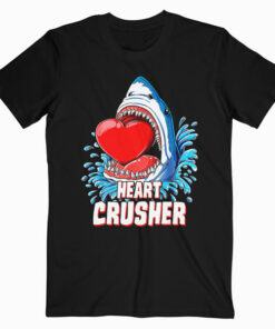 Heart Crusher Valentines Day Shark Boys Jawsome Gift T Shirt
