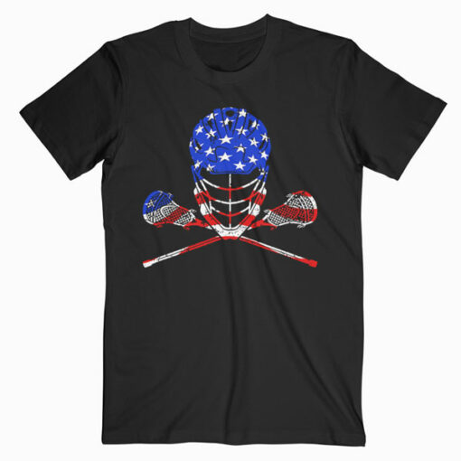 Lacrosse American Flag Lax Helmet And Sticks Men Women Kids T-Shirt
