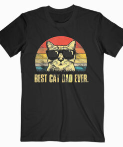 Mens Best Cat Dad Ever T-Shirt Funny Cat Dad Father Vintage Gift T-Shirt
