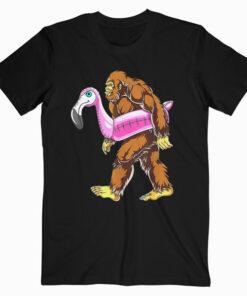 Pool Party Bigfoot Flamingo Sasquatch Pink Float T shirt