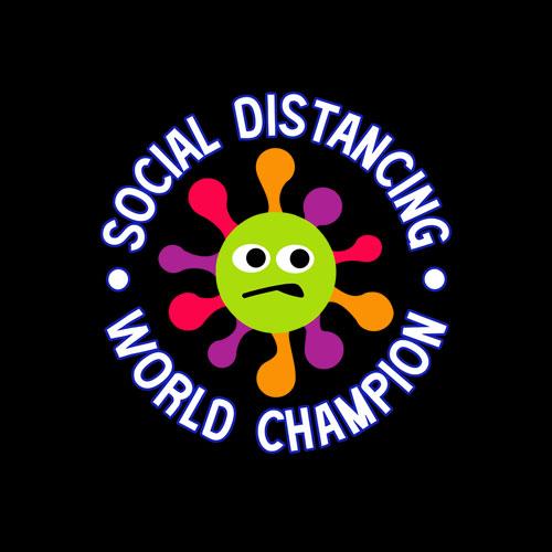 Social Distancing World Champion Funny Introvert Virus T-Shirt