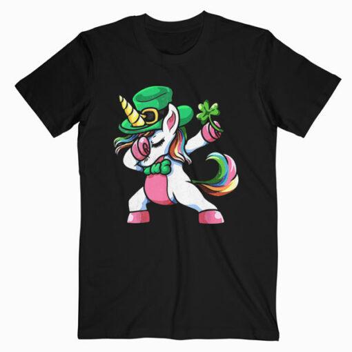 St Patricks Day Dabbing Unicorn Lepricorn Irish Girls T-Shirt