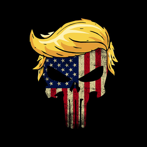 Trump Hair Skull 4th of july US Flag Trump Gift T-Shirt