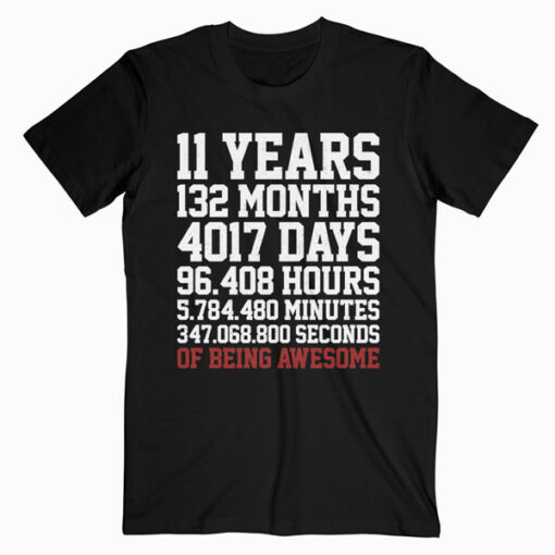 11 Years old of Being Awesome 11th Birthday Gift T Shirt