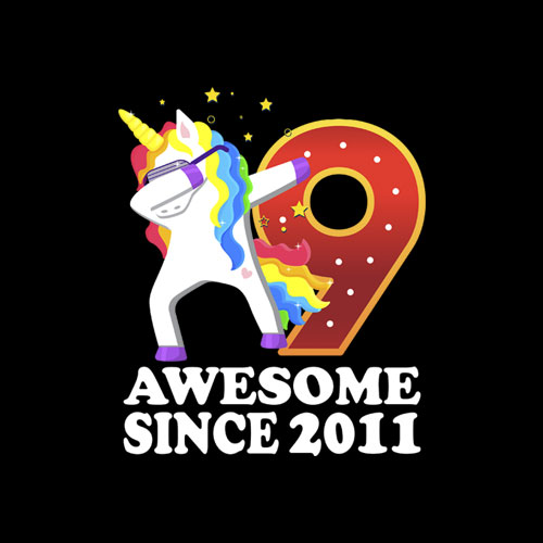 Awesome Since 2011 Dabbing Unicorn 9th Birthday Gift T Shirt