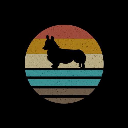 Corgi Dog Retro Vintage 60s 70s Silhouette Breed Funny Gift T-Shirt