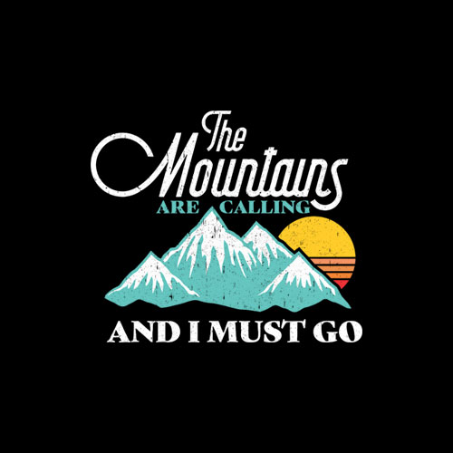 Mountains Are Calling And I Must Go Retro 80s Vibe Graphic T-Shirt