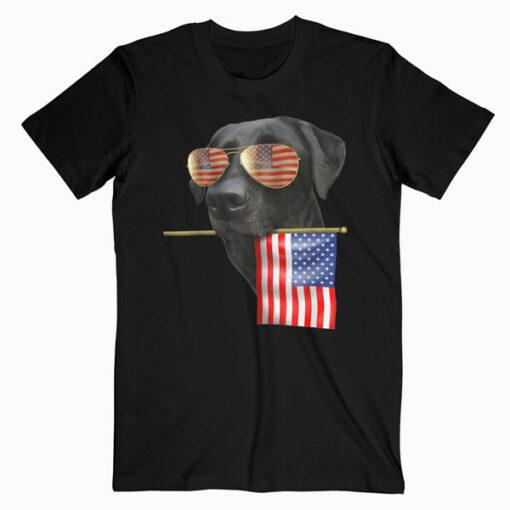 4th of July Shirt Fun American Flag Labrador Dog Lover Gift T-Shirt