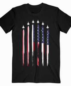 American Flag USA Airplane Jet Fighter 4th of July Patriotic T-Shirt