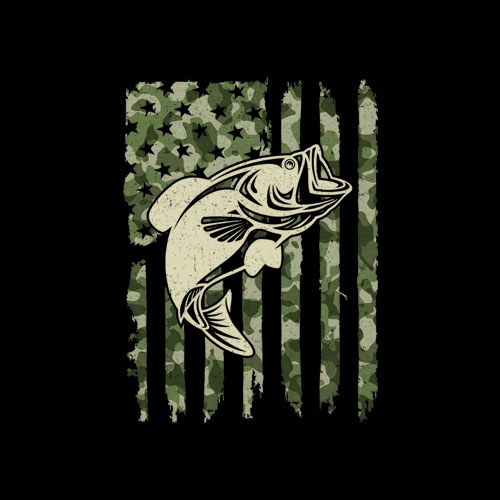 Camouflage American Flag Bass Fishing Gift T Shirt