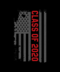 Class Of 2020 Distressed American Flag Red Text Gift T-Shirt